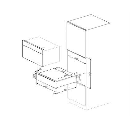Sertar termic incorporabil Smeg Linea CPR115N, negru, 15 cm, 21 l