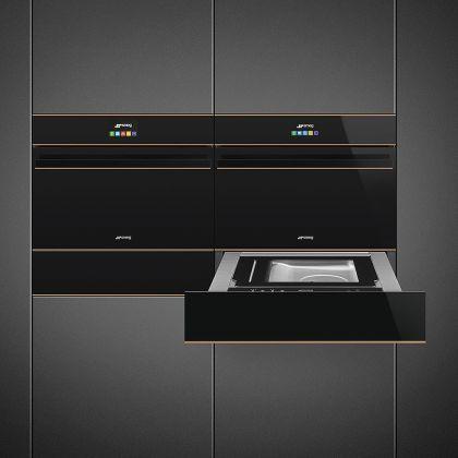 Sertar termic incorporabil Smeg Dolce Stil Novo CPR615NR, negru, finisaj cupru, 15 cm, 21 l