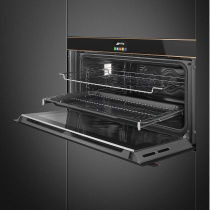 Cuptor incorporabil electric compact Smeg Dolce Stil Novo SFPR9604NR, 90 cm, pirolitic, display TFT