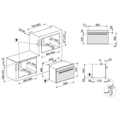 Cuptor incorporabil electric compact Smeg Dolce Stil Novo SFPR9604NX, 90 cm, pirolitic, display TFT