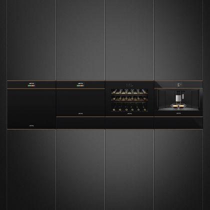 Espressor incorporabil Smeg Dolce Stil Novo CMS4604NR, negru, finisaje cupru