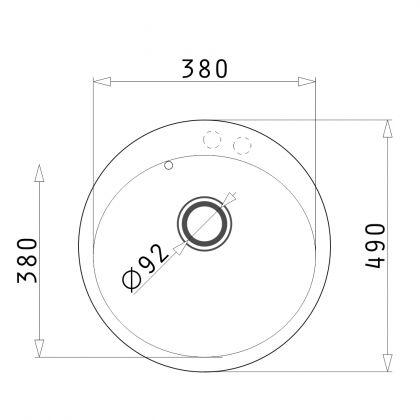 Chiuveta de bucatarie rotunda Pyramis ALYA 1B Ø49 890020004 neagra