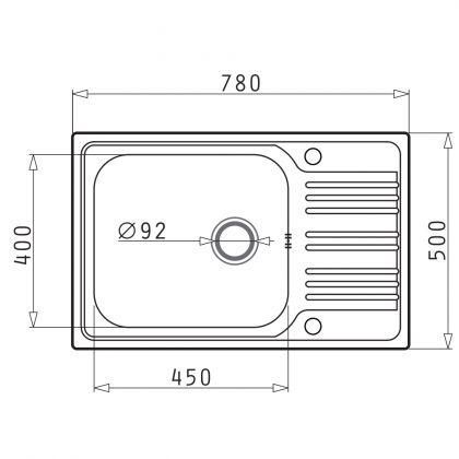 Set chiuveta Pyramis INSET 1B1D REV SM, 101051001A, inox, 78 cm + baterie bucatarie cadou