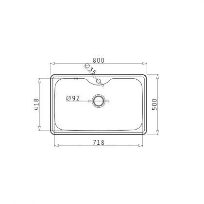 Set chiuveta Pyramis INSET 1B LN, 101051301A, inox microtexturat, 80 cm + baterie bucatarie cadou