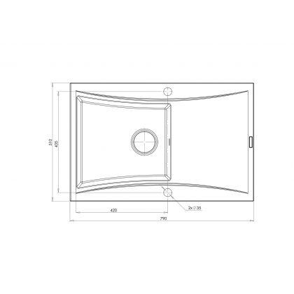 Set Pyramis chiuveta SOFTLINE 1B 1D 070001601BBK, negru, 79 cm + baterie Bello cadou