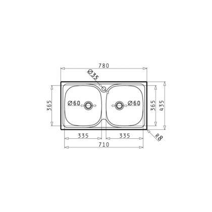 Set chiuveta Pyramis E78 LN, 100139301FC, inox microtexturat, 78 cm + baterie bucatarie cadou