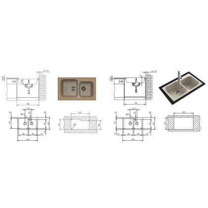 Set Pyramis Twin DUROTHEK + baterie OSSIA, 29084011TDOB, bej, 83 cm