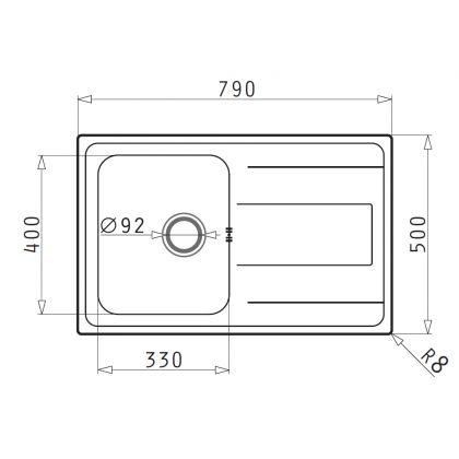 Set chiuveta Pyramis ALEA 1B 1D LN, 107160801BC, inox microtexturat, 79 cm + baterie bucatarie cadou