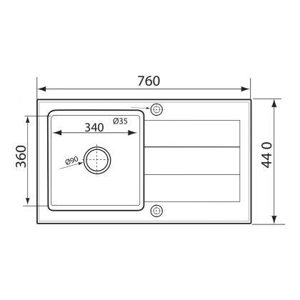 Set 3in 1 chiuveta granit PYRAMIS 1B1D ST 890020020, alb, 76 cm + baterie si dozator cadou