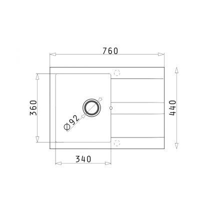 Set 2in 1 chiuveta granit PYRAMIS 1B1D + baterie OSSIA 970000101OS, negru, 76 cm