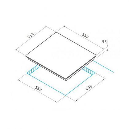 Plita incorporabila pe gaz Pyramis 60KS 3040 030013501, inox, 60 cm