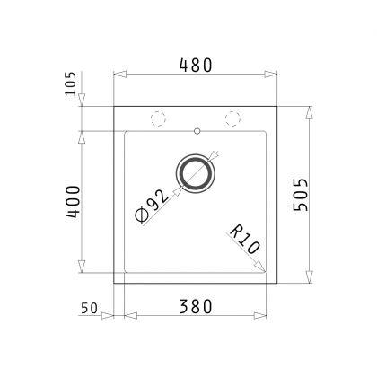 Chiuveta granit Pyramis ALYA 1B 48x50,5 890021671, gri