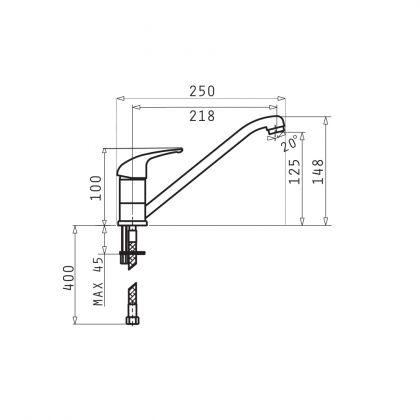 Baterie bucatarie Pyramis ASALIA 090921301, gri