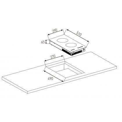 Plita incorporabila cu inductie Pyramis ECOLINE PIT219, 30 cm, negru, touch control