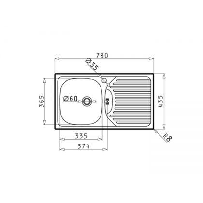 Set chiuveta Pyramis ET FORK ST LN, 100179901BC, inox microtexturat, 78 cm + baterie bucatarie cadou