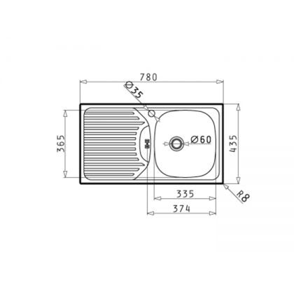 Set chiuveta Pyramis ET FORK DR LN, 100179801FC, inox microtexturat, 78 cm + baterie bucatarie cadou