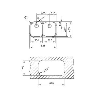 Chiuveta de bucatarie Teka Standard Line Stylo 2B, inox, 83 cm latime