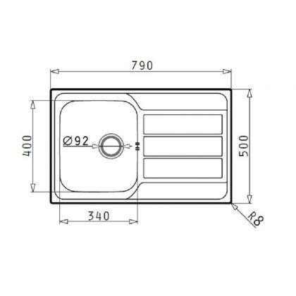 Set Pyramis chiuveta ATHENA 1B 1D LN, 100180201FLB, inox microtexturat, 79 cm + baterie bucatarie cadou
