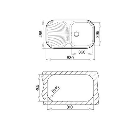 Chiuveta de bucatarie Teka Standard Line Stylo 1B 1D, inox, 83 cm latime, colturi rotunjite