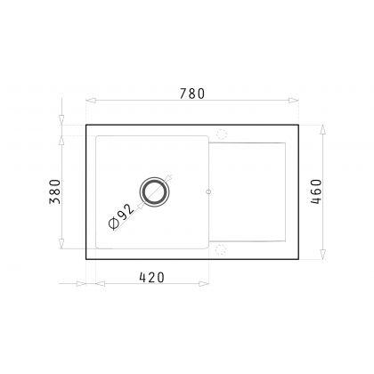 Chiuveta de bucatarie Pyramis KORFU 1B 1D Black, 070060901, 78x46