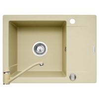 Set chiuveta Pyramis KORFU 1B1D & baterie ASALIA, 070060801AS, 62 cm, pyragranite, crem