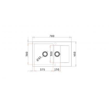 Set chiuveta Pyramis KORFU 1 1/2B 1D & baterie OSSIA, 070062001OS, crem, pyragranite, 78 cm