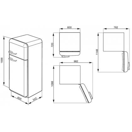 Frigider retro cu 2 usi Smeg FAB30RP1, clasa A++, crem, ventilat