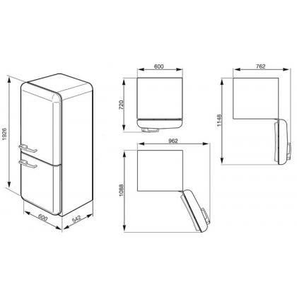 Combina frigorifica retro Smeg FAB32RPN1, congelator No Frost, clasa A++, crem