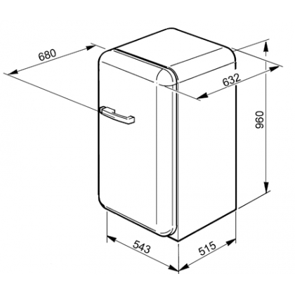 Frigider minibar retro Smeg FAB10RO, clasa A+, portocaliu