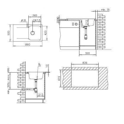 Chiuveta soft compozit Pyramis Level ARTITHEK 1B 1D ST, 19141106, 86 cm, negru