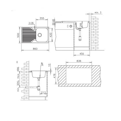 Chiuveta soft compozit Pyramis Stripe DUROTHEK 1B1D DR, 29131211, bej, 86 cm