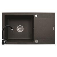 Set chiuveta KORFU 78x46 1B1D & baterie BELLO - Black