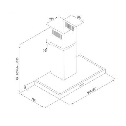 Hota semineu Pyramis 3170 Inox Digital, 3170659901, 60 cm, inox