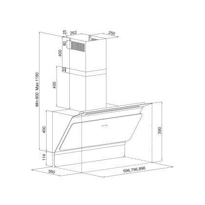 Hota de perete Pyramis 3445 Black Touch, 3445659901, 60 cm, sticla, touch control