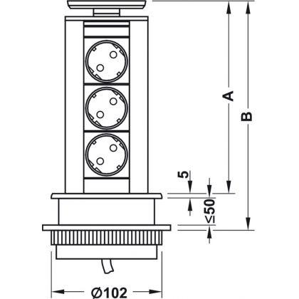 Priza retractabila Evoline Powerdock 822.74.950, 230 V, 3 prize Schuko, 211 mm inaltime, capac plastic