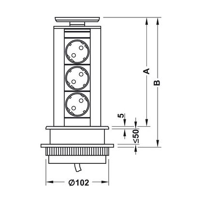 Priza retractabila Bachmann Powerdock 822.74.960 V, 3 prize Schuko, 211 mm inaltime, capac inox masiv
