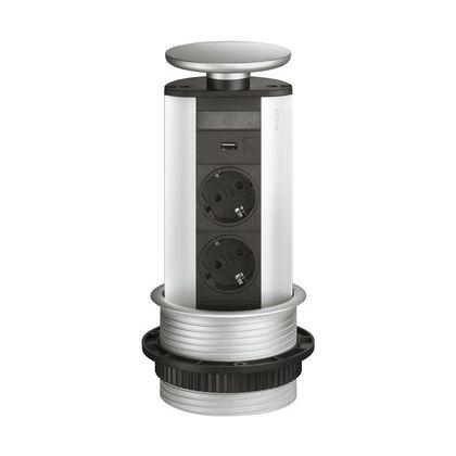 Priza retractabila Evoline Powerdock 820.52.793, 230 V, 2 prize Schuko si 1 USB 5W, 246 mm inaltime