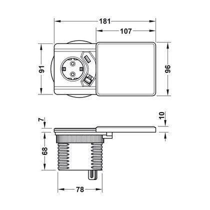 Priza Slide Evoline 820.52.791, 1 statie de incarcare inductiva Qi cu capac + 1 priza Schuko + 1 statie de incarcare USB, prelungire cablu de retea, 6 Fise RJ-45 3 m