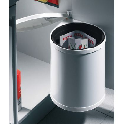 Cos de gunoi rotund incorporabil Hailo Mono 502.12.729, 15 l, capac alb, corp 400 mm