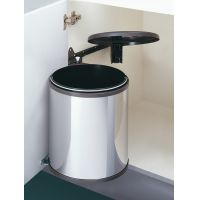 Cos de gunoi rotund incorporabil Hailo Big Box 502.23.044, 15 l, capac maro, corp 400 mm, inox