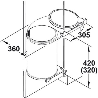 Cos de gunoi rotund incorporabil Hailo Big Box 502.23.062, 20 l, capac maro, corp 400 mm, inox