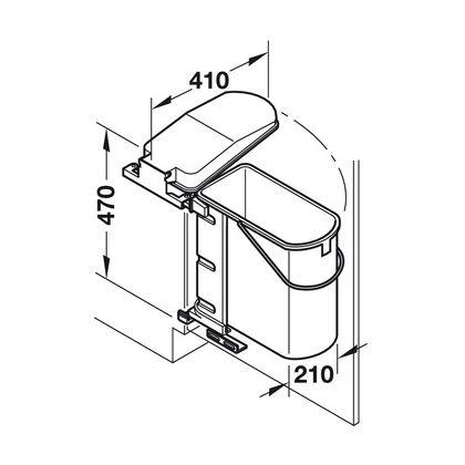 Cos de gunoi incorporabil Hafele 502.00.507, 19 l, Gri, corp 450 mm