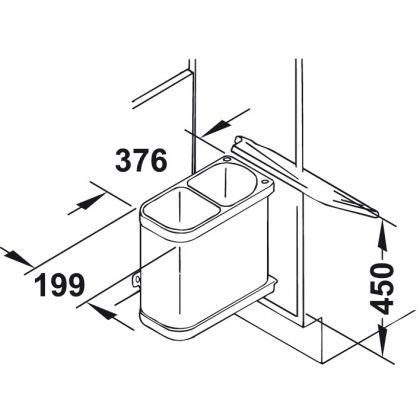 Cos de gunoi incorporabil Hailo Duo 502.62.023, 2x8 l, Inox lucios, corp 450 mm