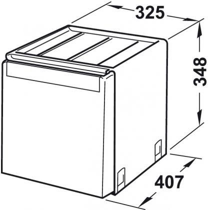 Cos de gunoi incorporabil Franke Cube 502.76.300, 2x14 l, negru, corp 400 mm