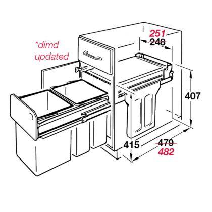 Cos de gunoi incorporabil Hailo Tandem 502.70.252, 2x15 l, negru, corp 300 mm