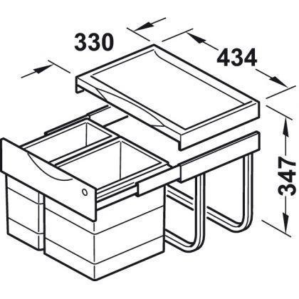Cos de gunoi incorporabil Hailo Raumspar-Tandem TR Swing 502.70.213, 1x12 l si 1x18 l, gri, corp 500 mm