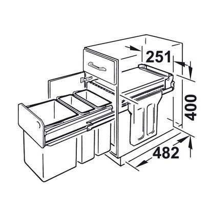Cos de gunoi incorporabil Hailo Torzett 502.70.253, 1x15 l si 2x7 l, negru, corp 300 mm