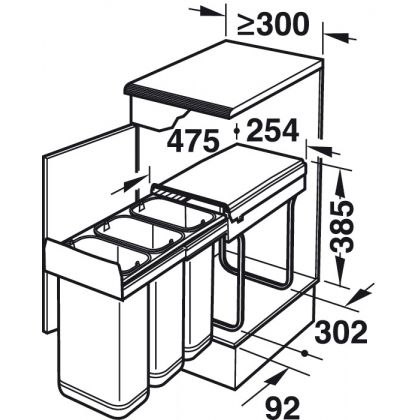 Cos de gunoi incorporabil Hafele 502.67.033, 3x10 l, negru, corp 300 mm, cos inox