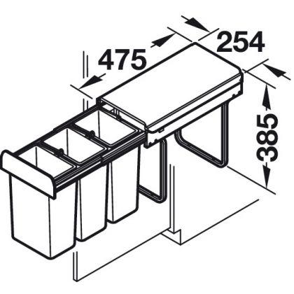 Cos de gunoi incorporabil Hailo 502.67.733, 3x10 l, gri, corp 300 mm, cos plastic