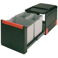 Cos de gunoi incorporabil Franke Cube 502.76.305, 1x18 l si 2x8 l, negru, corp 400 mm, cos plastic